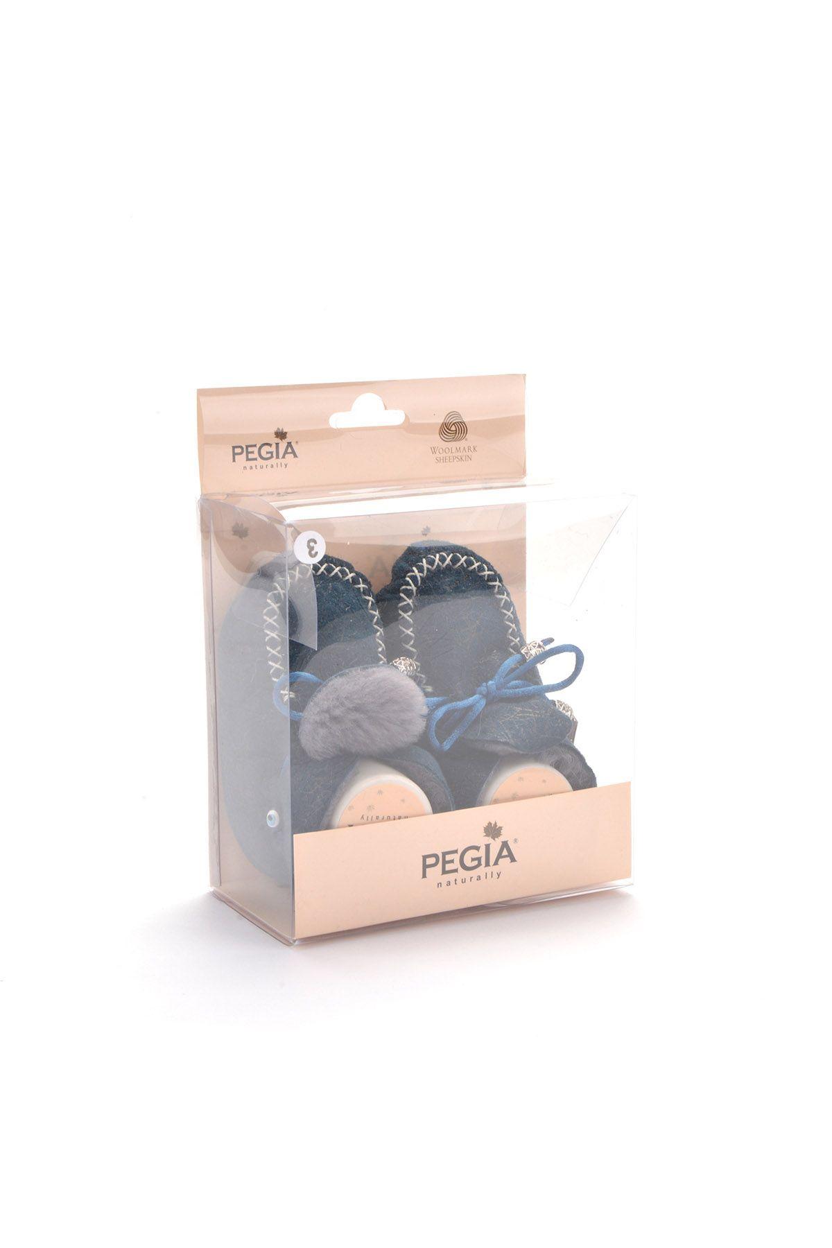 Pegia Hakiki Kürklü Bağcıklı Bebek Patiği 141103 Mavi