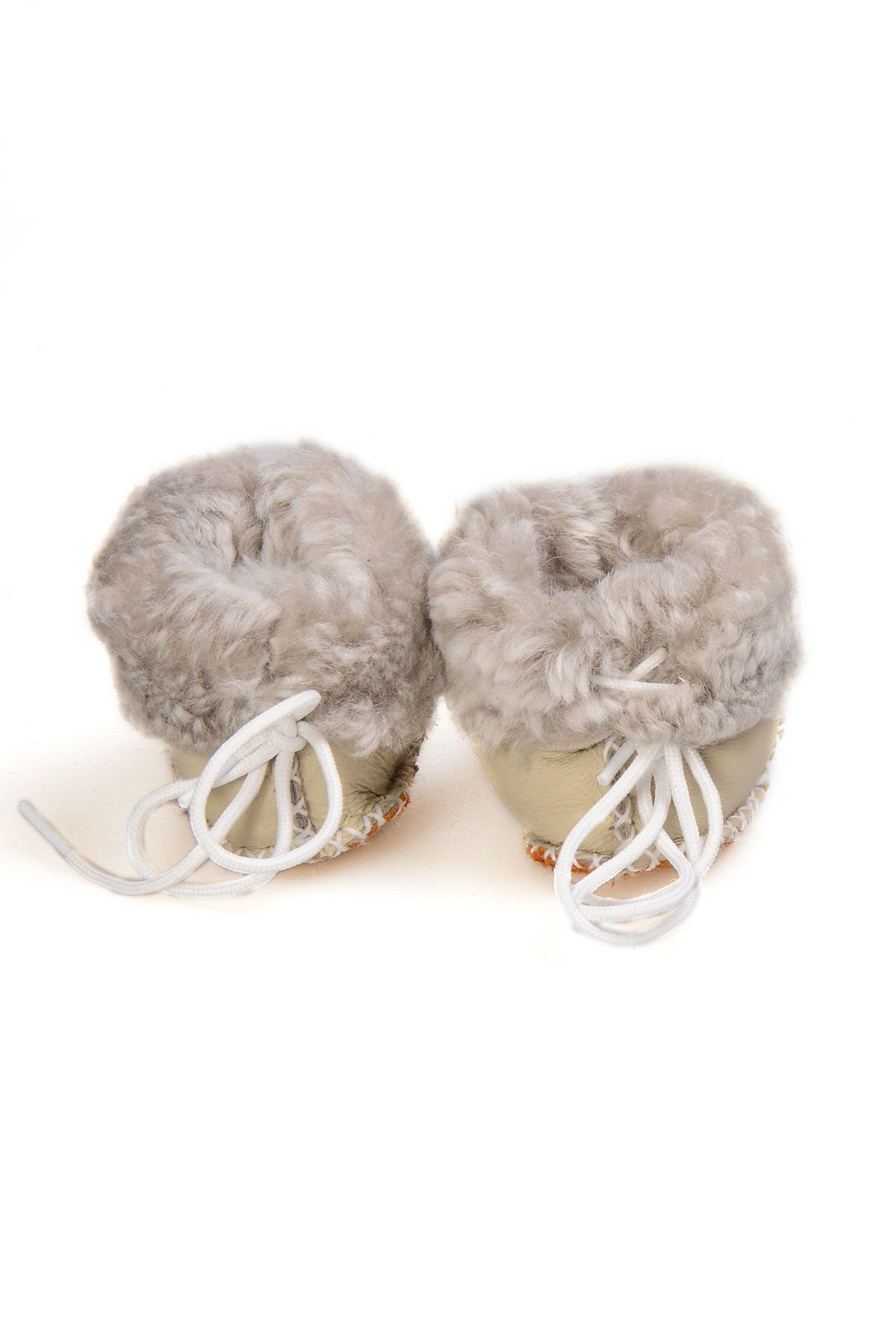 Pegia Babies Laced Shearling Booties 141105 Light Green