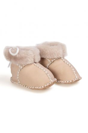 Pegia Babies Laced Shearling Booties 141105 Beige