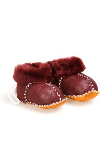 Pegia Babies Laced Shearling Booties 141105 Claret red