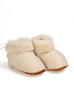 Pegia Babies Laced Shearling Booties 141105 Gray