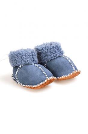 Pegia Hakiki Kürklü Bağcıklı Bebek Patiği 141105 Mavi