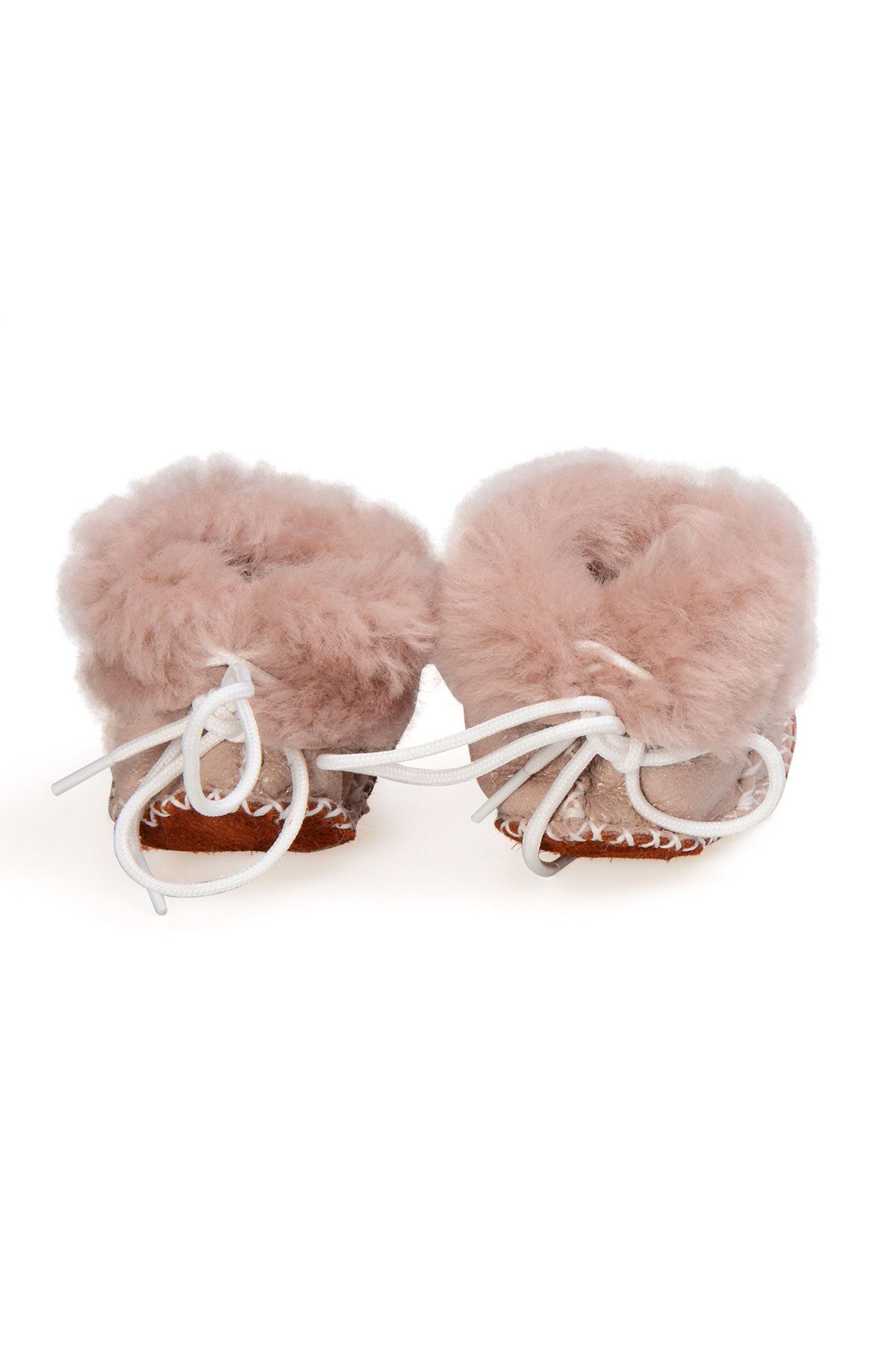 Pegia Babies Laced Shearling Booties 141105 Powdery