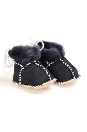 Pegia Babies Laced Shearling Booties 141105 Black