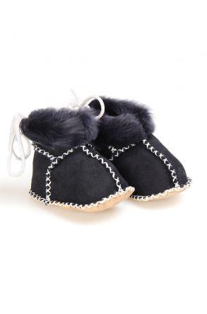 Pegia Hakiki Kürklü Bağcıklı Bebek Patiği 141105 Siyah