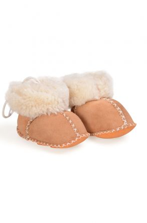 Pegia Babies Laced Shearling Booties 141105 Sand-colored
