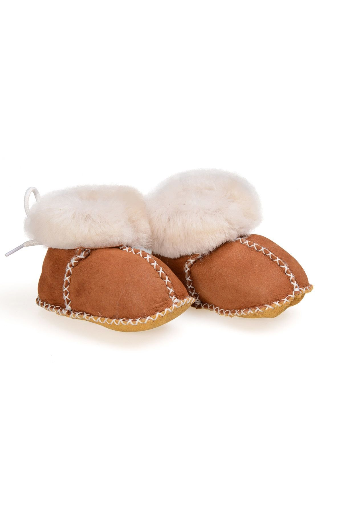 Pegia Babies Laced Shearling Booties 141105 Ginger
