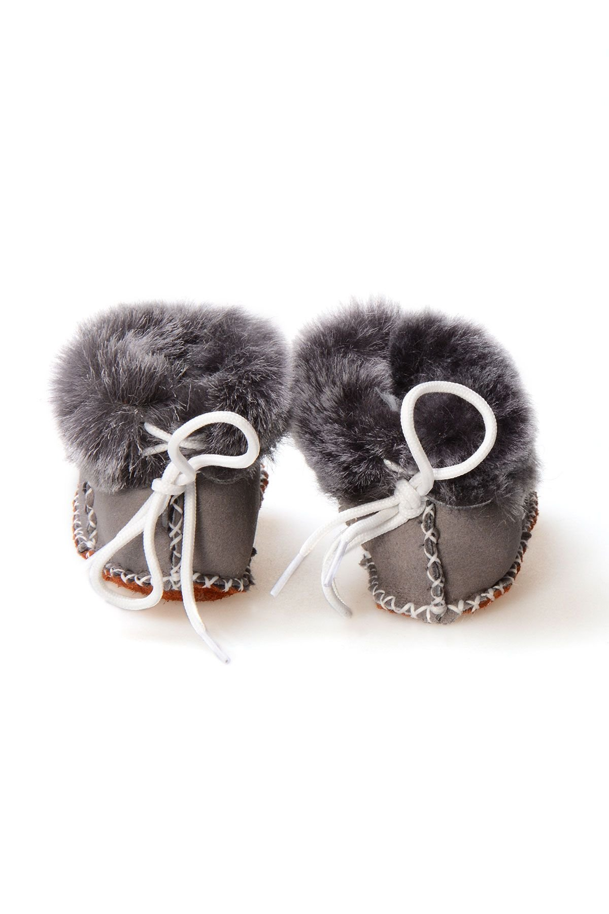 Pegia Babies Laced Shearling Booties 141105 Anthracite-colored