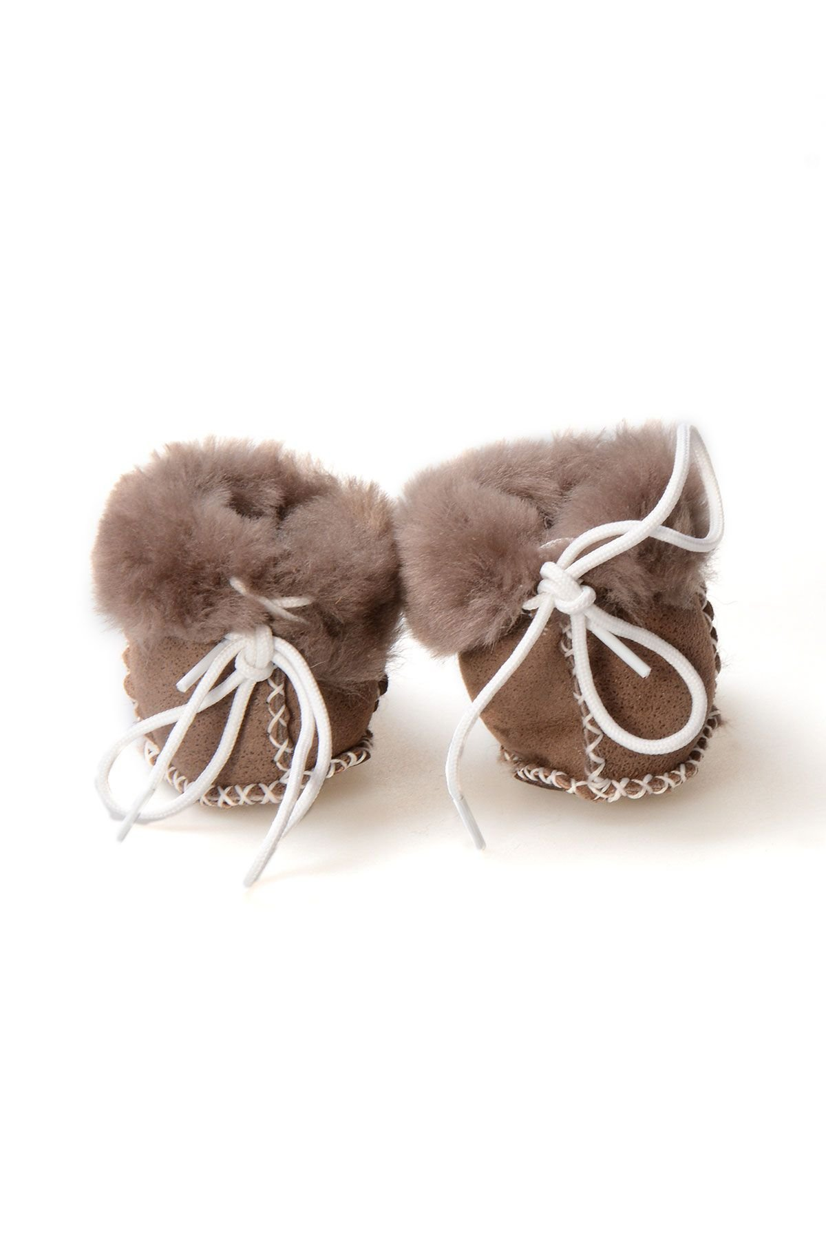 Pegia Babies Laced Shearling Booties 141105 Brown