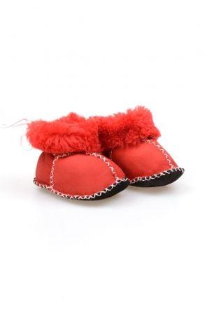 Pegia Hakiki Kürklü Bağcıklı Bebek Patiği 141105 Kırmızı