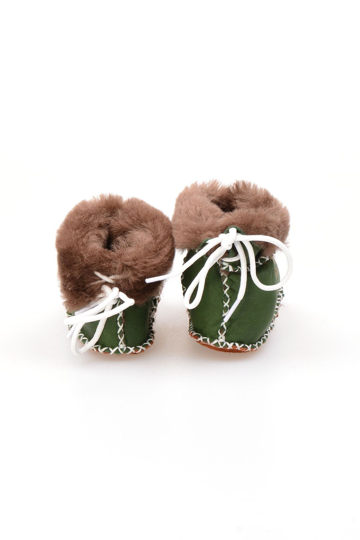 Pegia Babies Laced Shearling Booties 141105 Green