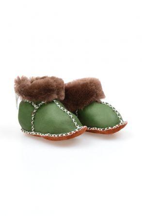 Pegia Hakiki Kürklü Bağcıklı Bebek Patiği 141105 Yeşil