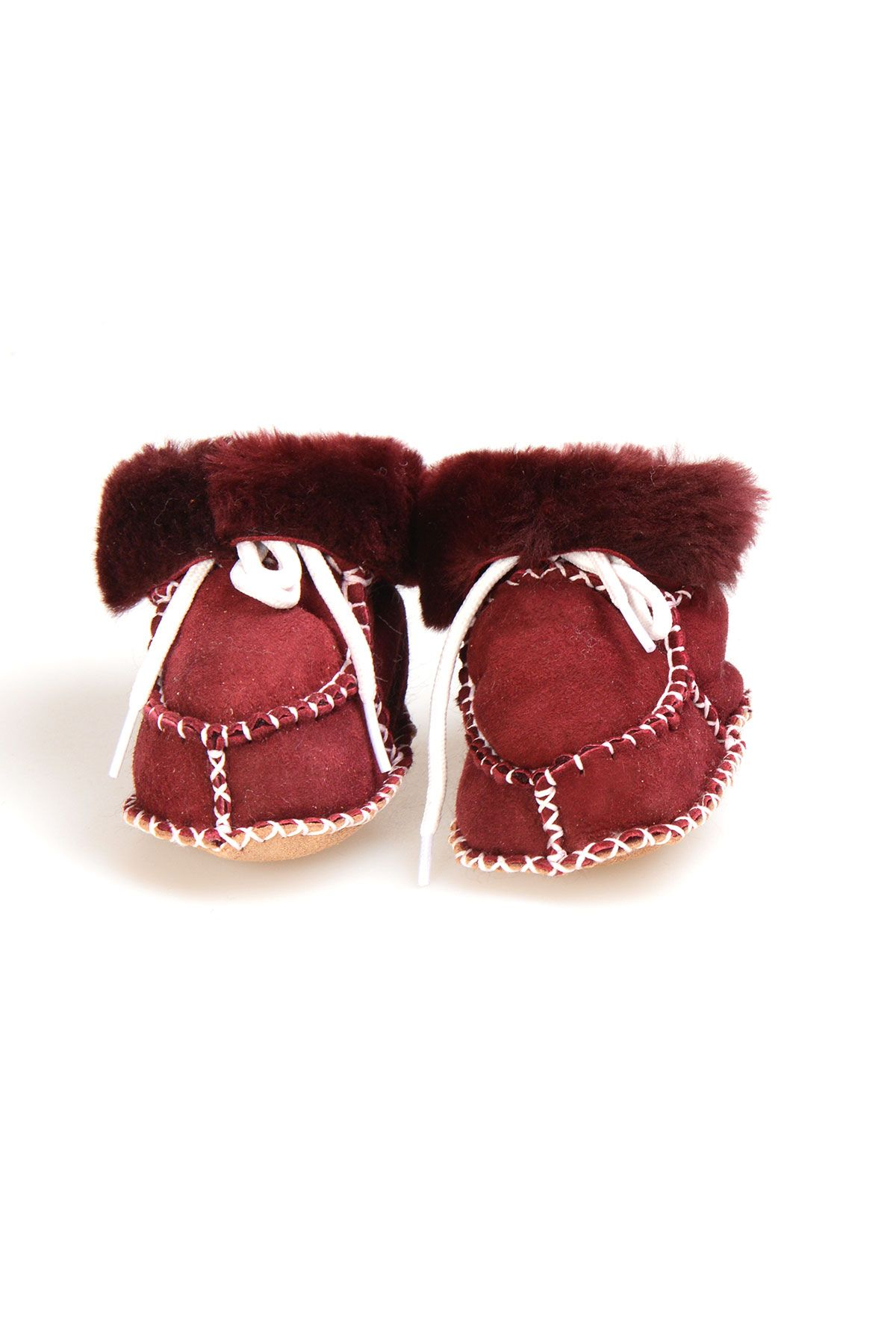 Pegia Shearling Baby's Laced Booties 141105 Claret red