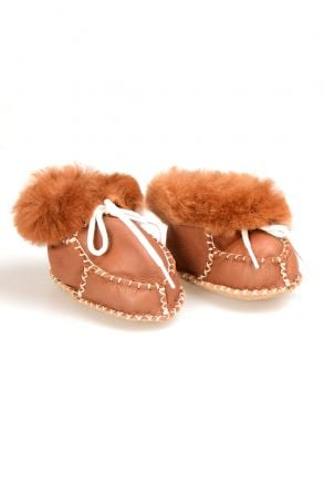 Pegia Shearling Baby's Laced Booties 141105 Ginger