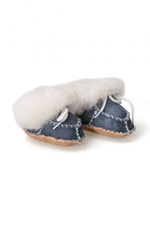Pegia Shearling Baby's Laced Booties 141105 Blue