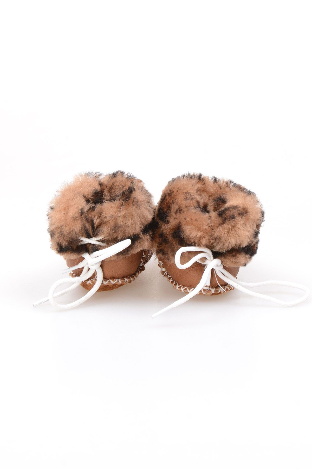 Pegia Genuine Shearling Laced Kid's Booties 141109 Visone