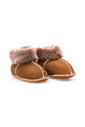Pegia Genuine Sheepskin Kid's Laced Booties 141110 Dark Brown