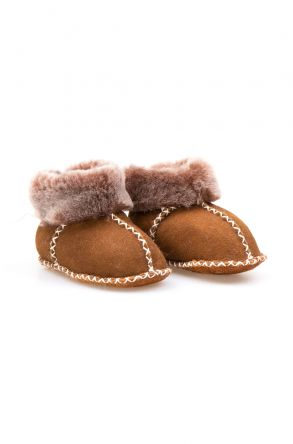 Pegia Genuine Sheepskin Kid's Laced Booties 141110 Dark Brown