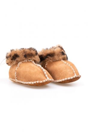 Pegia Genuine Sheepskin Kid's Laced Booties 141111 Sand-colored