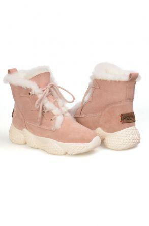 Pegia Women's Genuine Sheepskin Liced Boots T-391001 Powdery