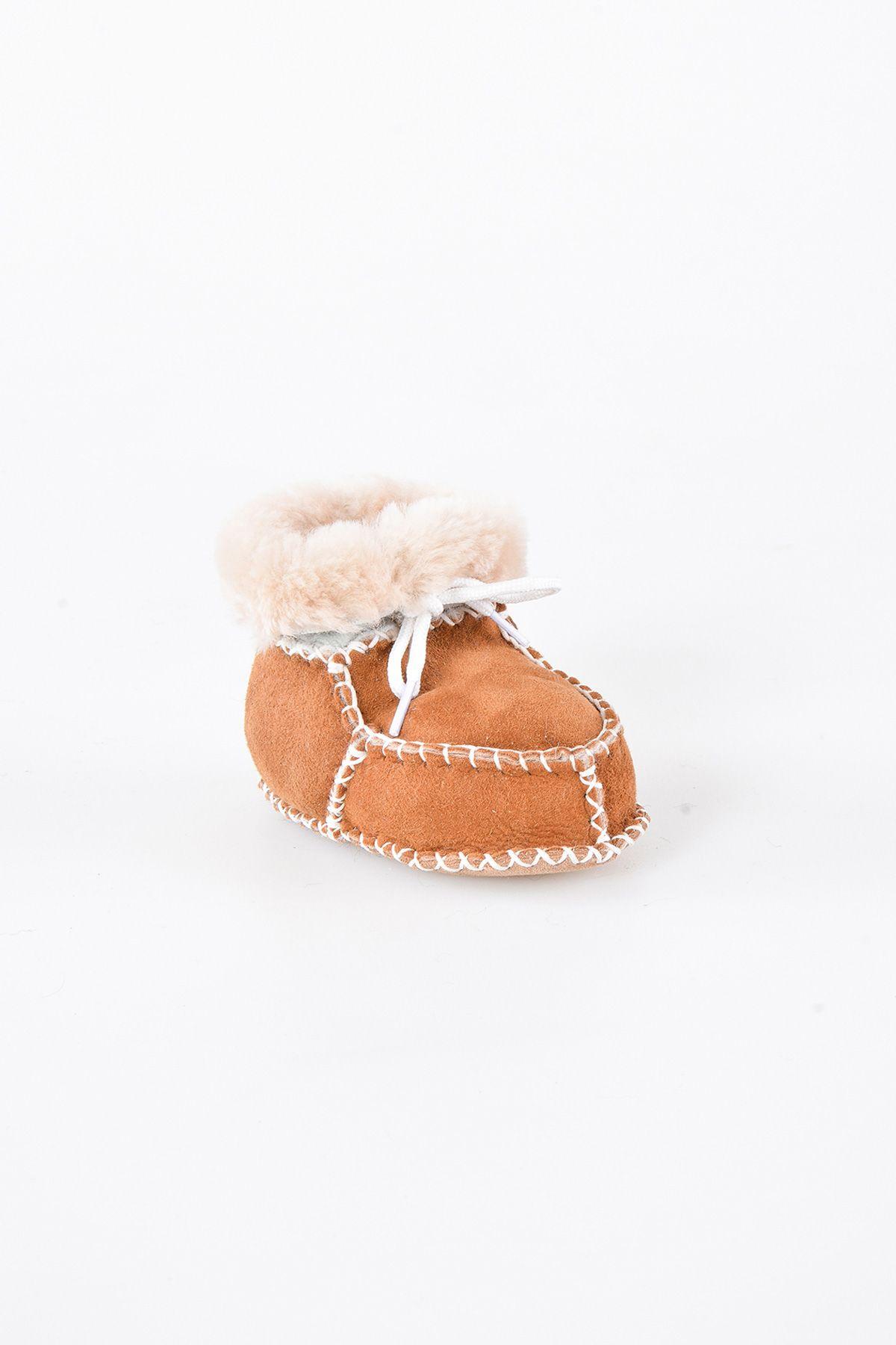 Pegia Hakiki Kürklü Bağlı Bebek Patiği 141009 Taba