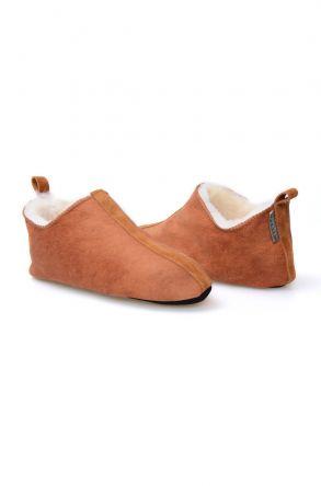 Pegia Hakiki Kürklü Bayan Ev Ayakkabısı 980455 Taba