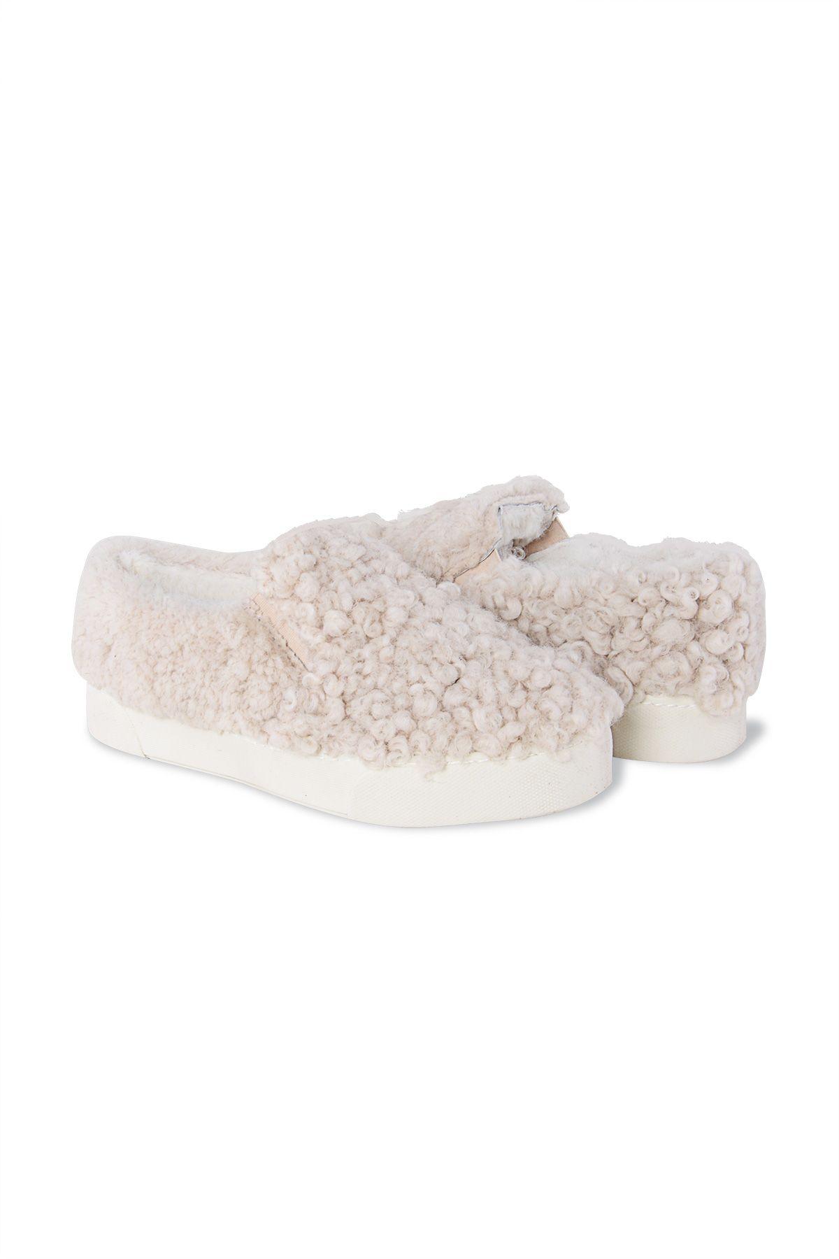 Pegia Hakiki Kürklü Bayan Sneaker 659524 Bej