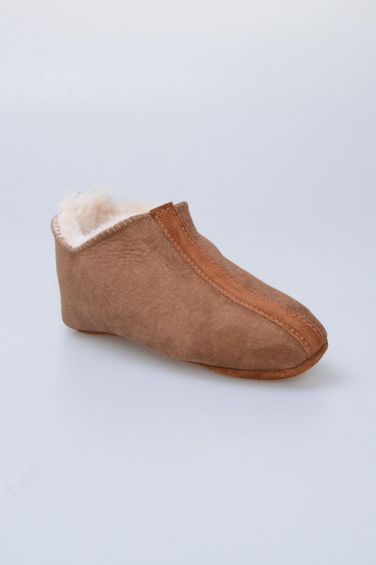 Pegia Hakiki Kürklü Çocuk Ev Ayakkabısı 880242 Taba