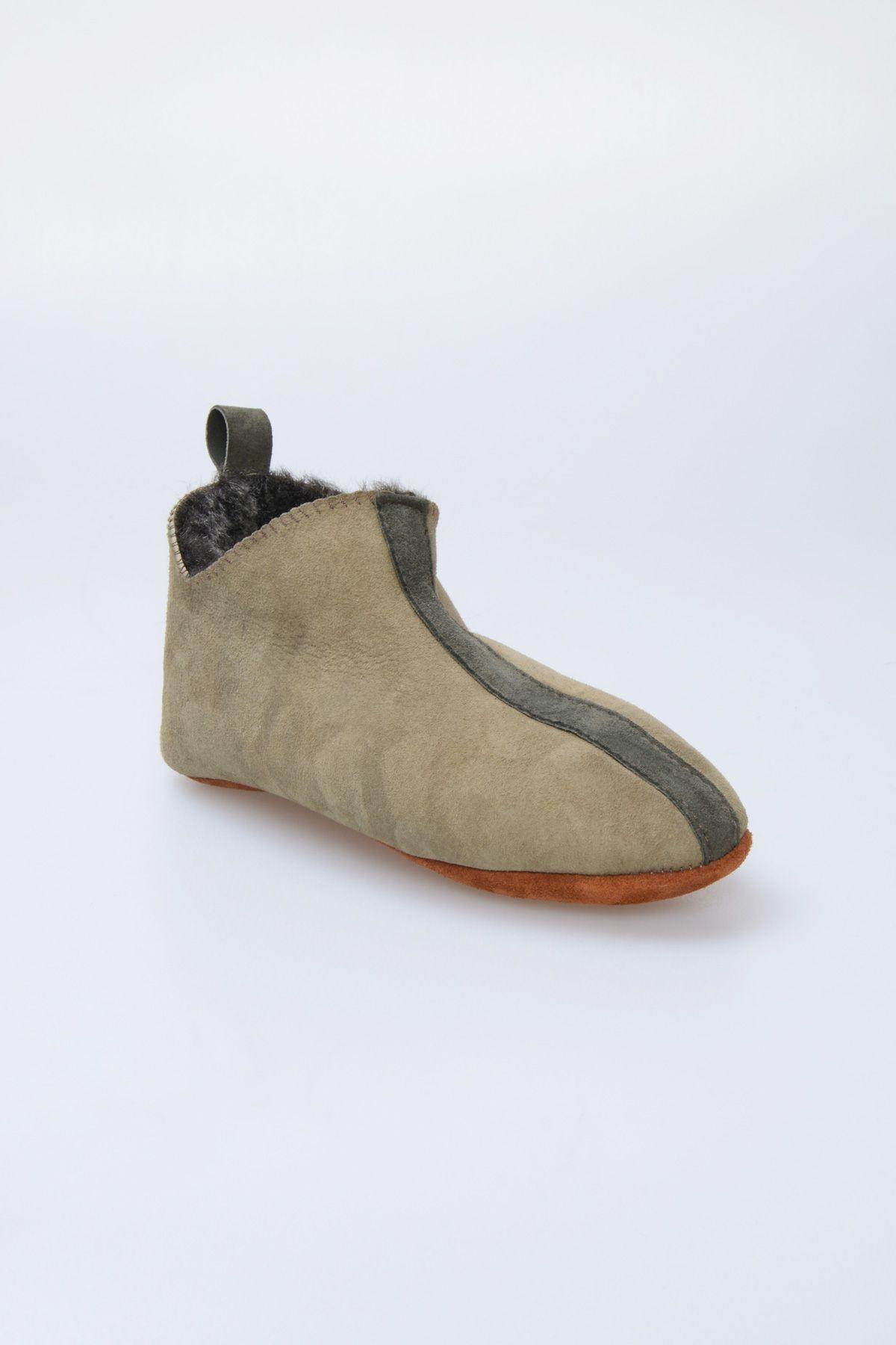 Pegia Hakiki Kürklü Çocuk Ev Ayakkabısı 880252 Haki