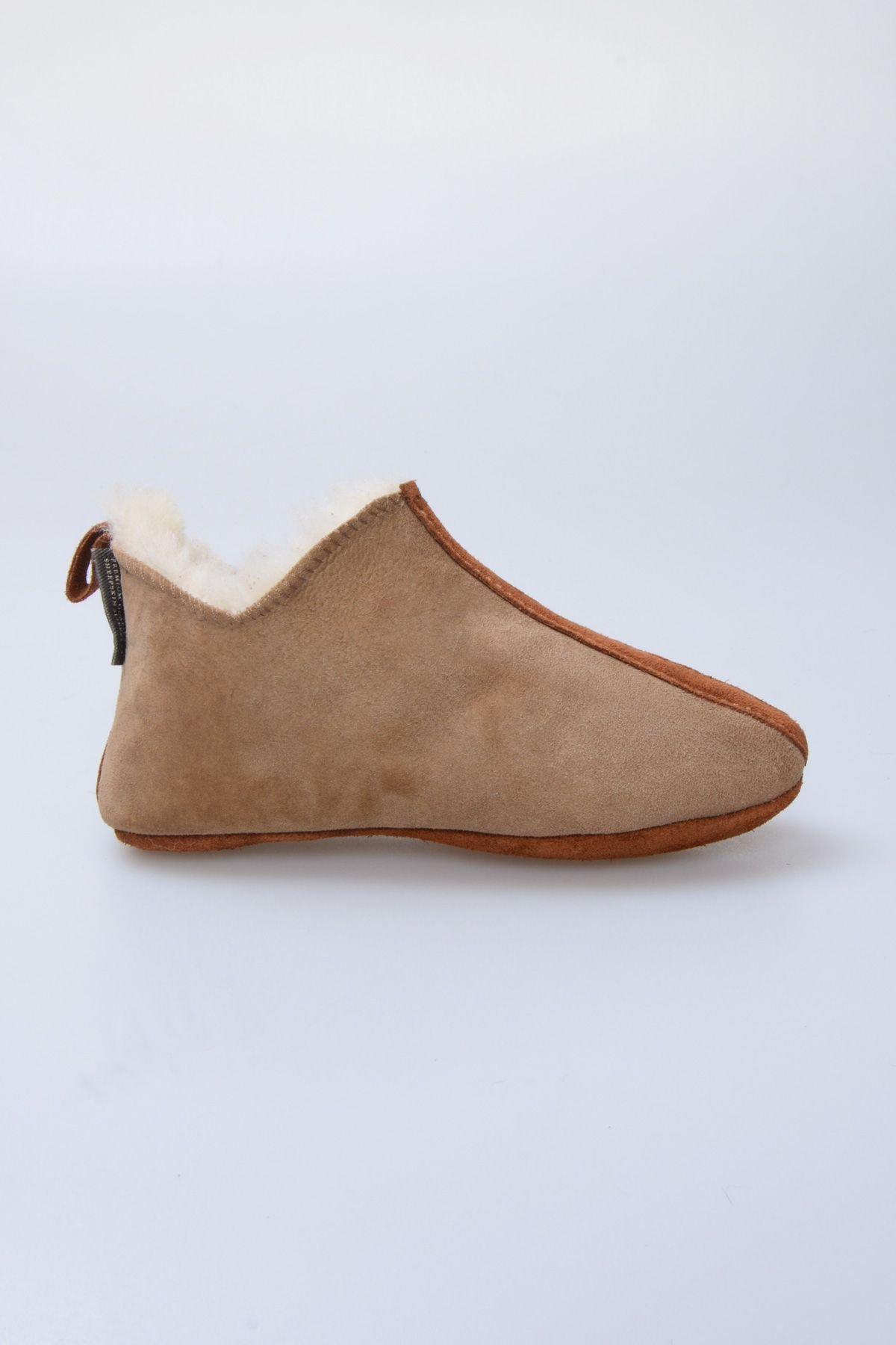 Pegia Kids Suede Sheepskin Slippers 880255 Sand-colored