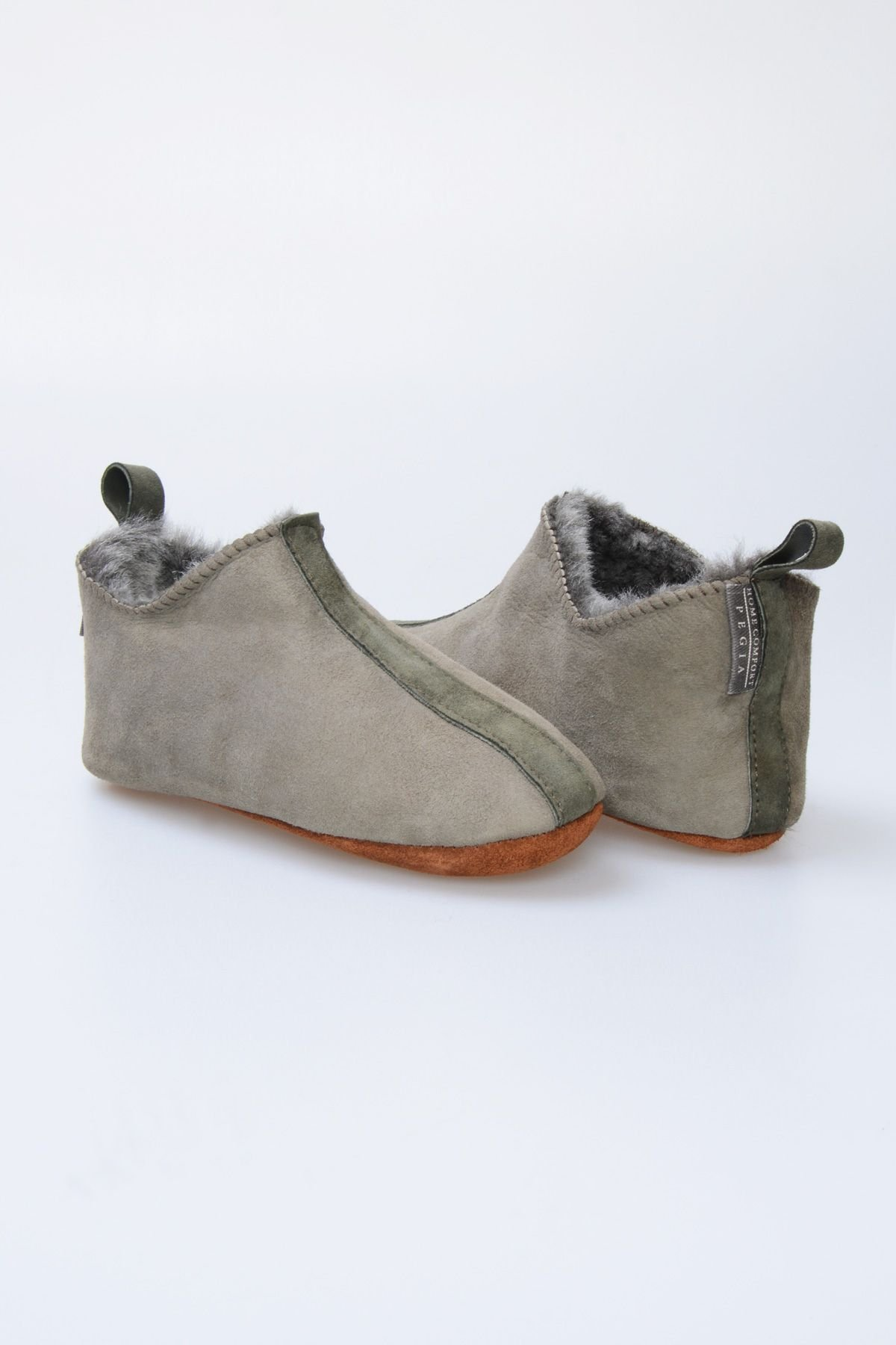 Pegia Hakiki Kürklü Çocuk Ev Ayakkabısı 880259 Yeşil