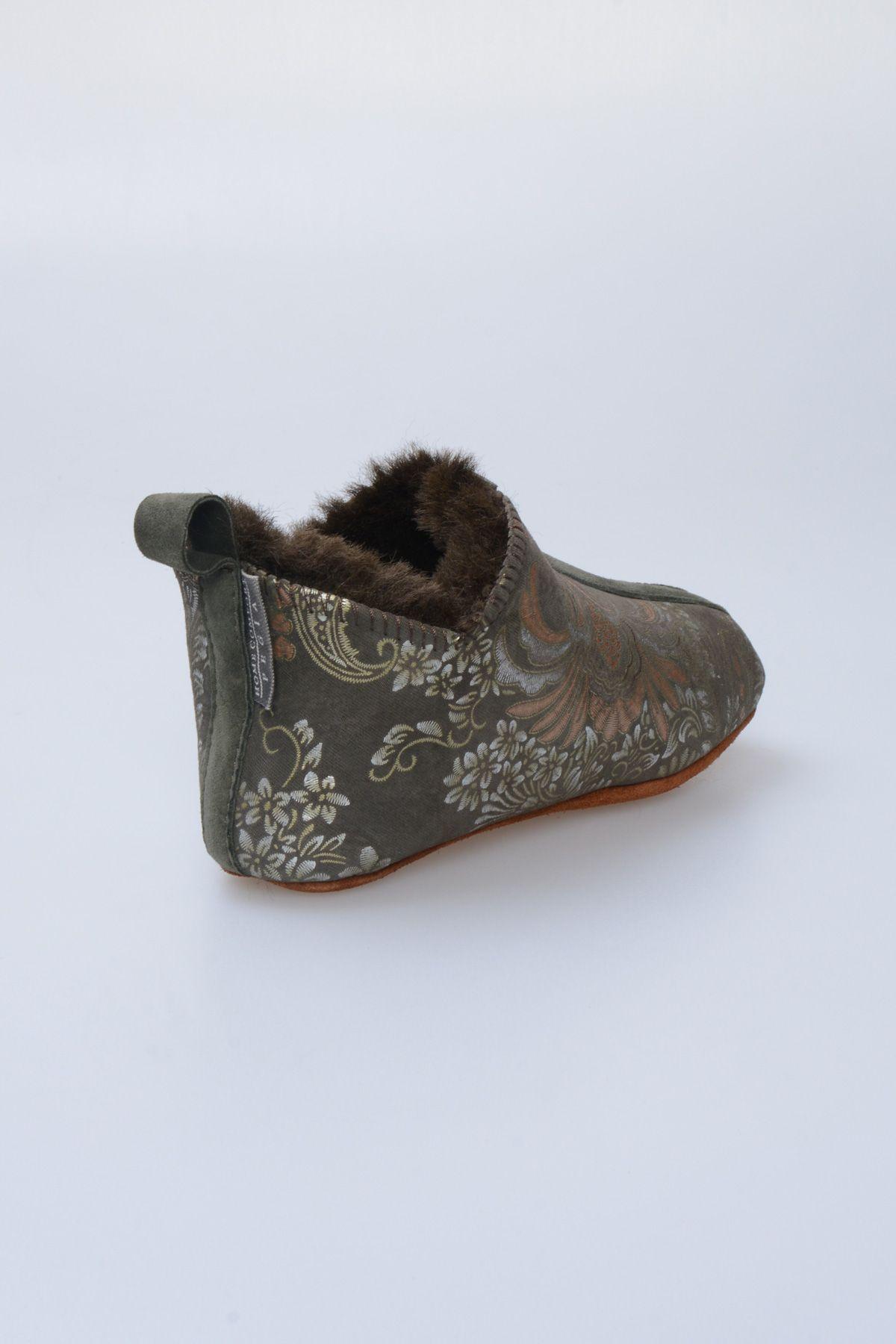 Pegia Hakiki Kürklü Çocuk Ev Ayakkabısı 880263 Yeşil