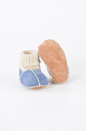 Pegia Hakiki Kürklü Çoraplı Bebek Patiği 141006 Antrasit
