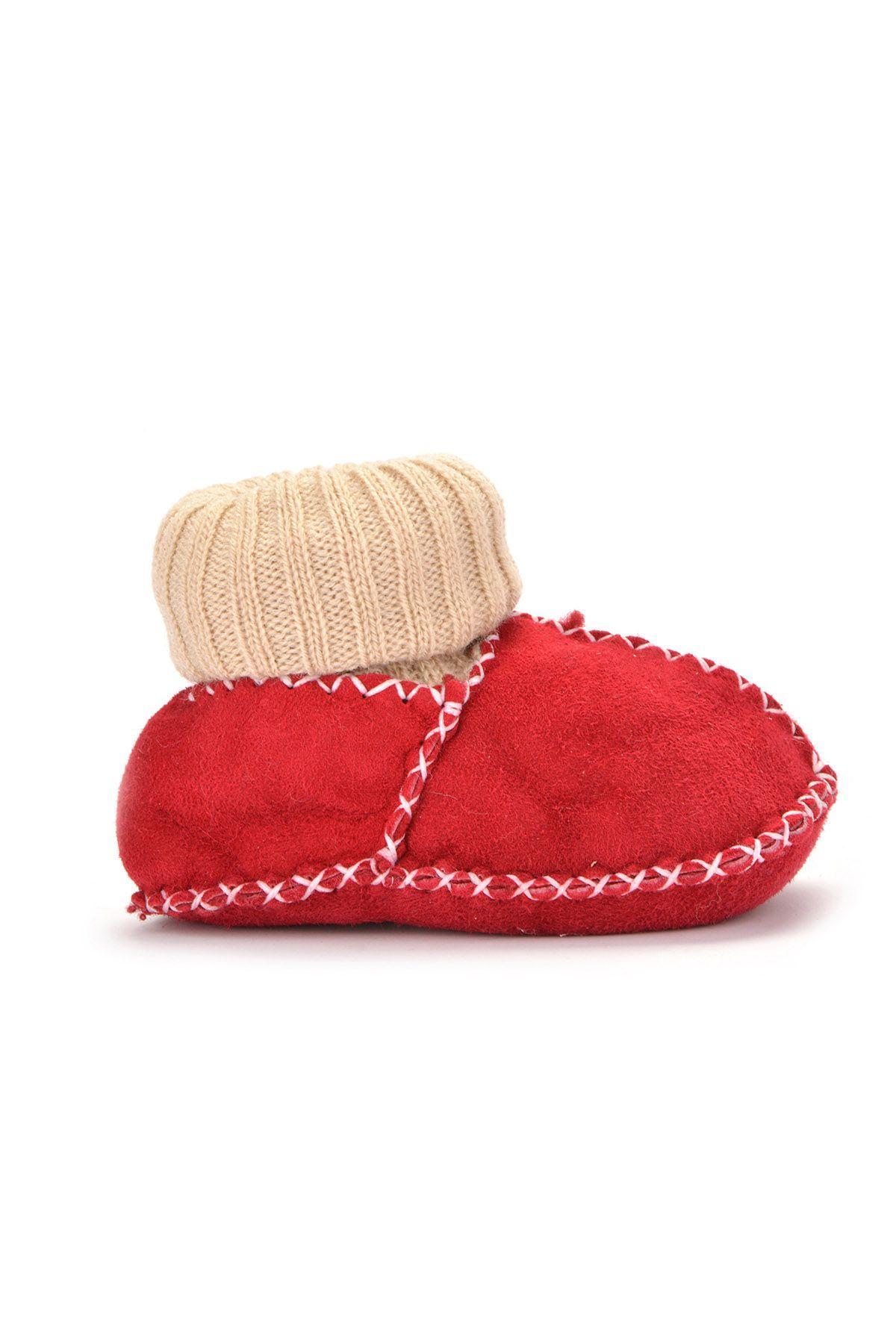 Pegia Hakiki Kürklü Çoraplı Bebek Patiği 141006 Kırmızı
