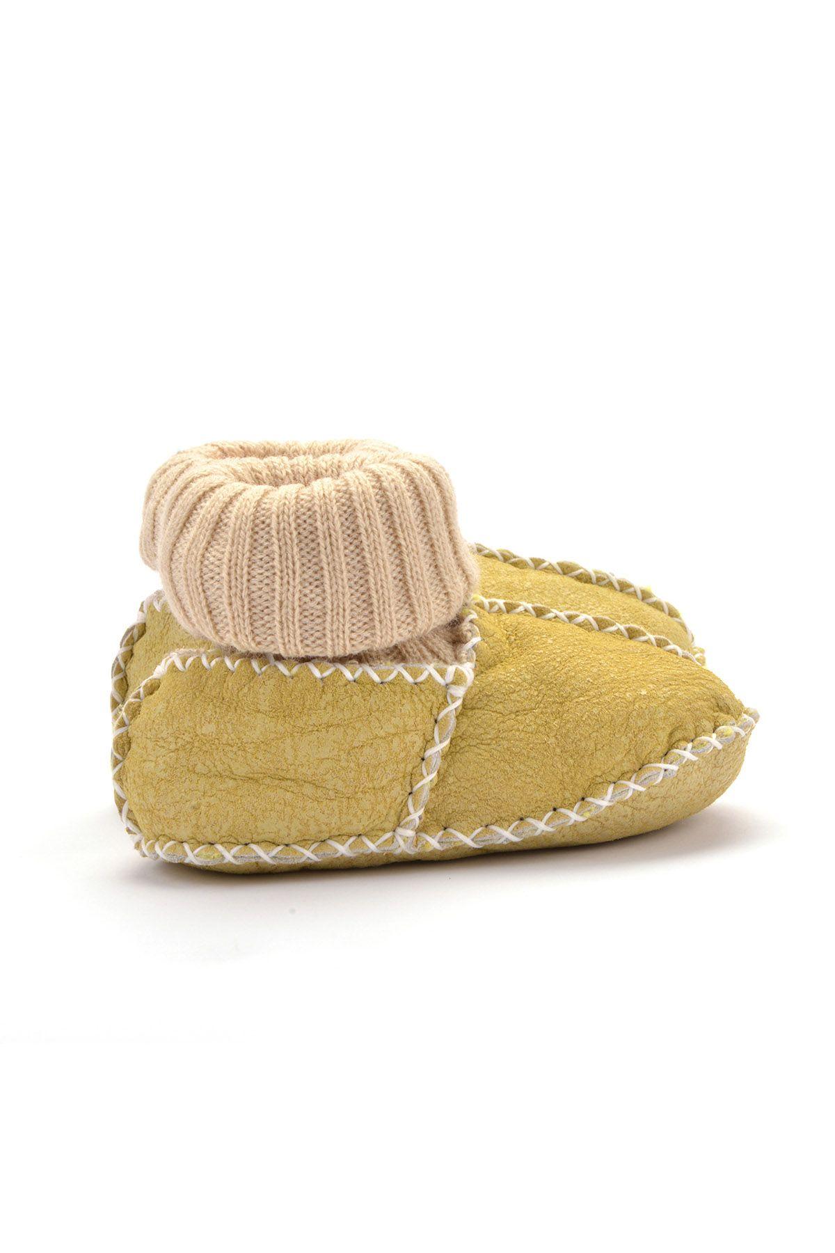 Pegia Hakiki Kürklü Çoraplı Bebek Patiği 141006 Sarı