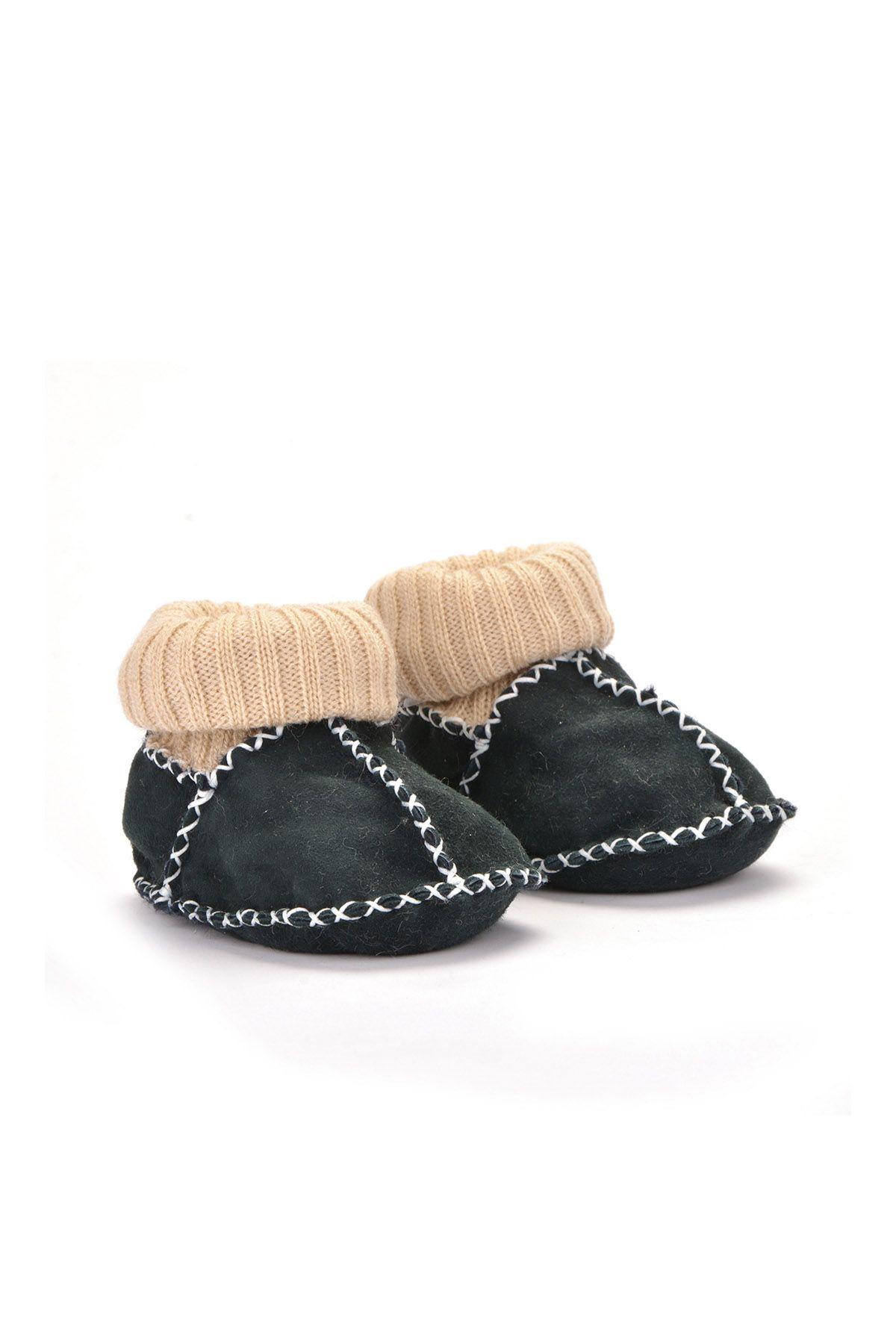 Pegia Hakiki Kürklü Çoraplı Bebek Patiği 141006 Koyu Yeşil