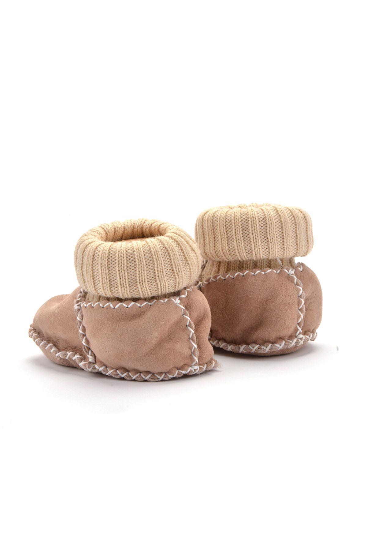 Pegia Hakiki Kürklü Çoraplı Bebek Patiği 141006 Bej
