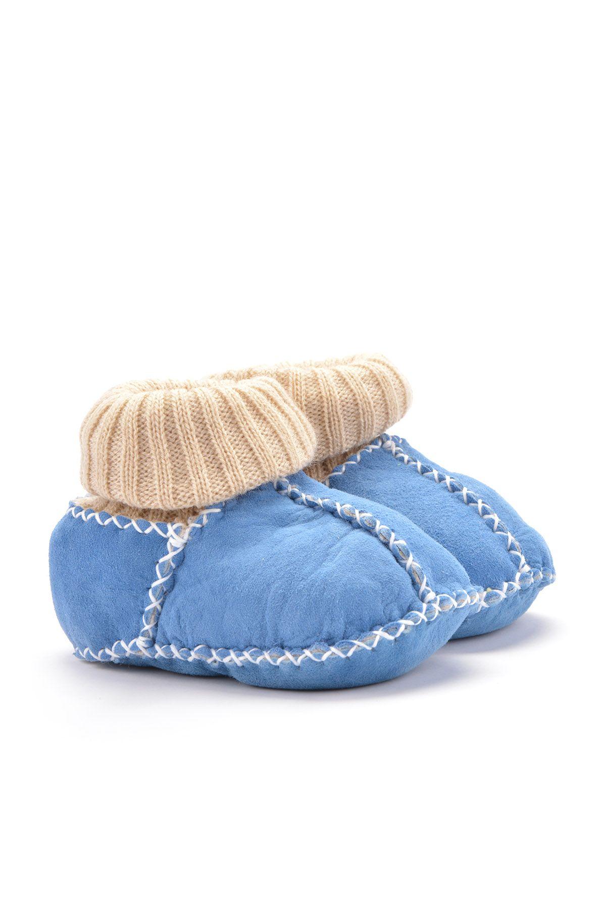 Pegia Hakiki Kürklü Çoraplı Bebek Patiği 141006 Mavi