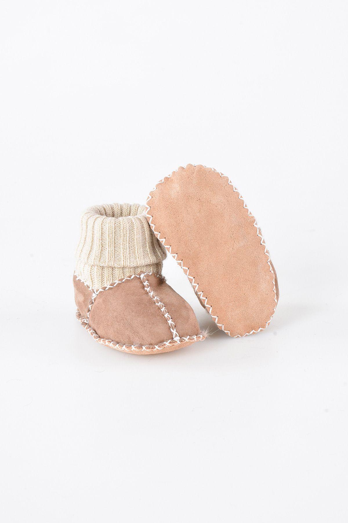 Pegia Hakiki Kürklü Çoraplı Bebek Patiği 141006 Sahra