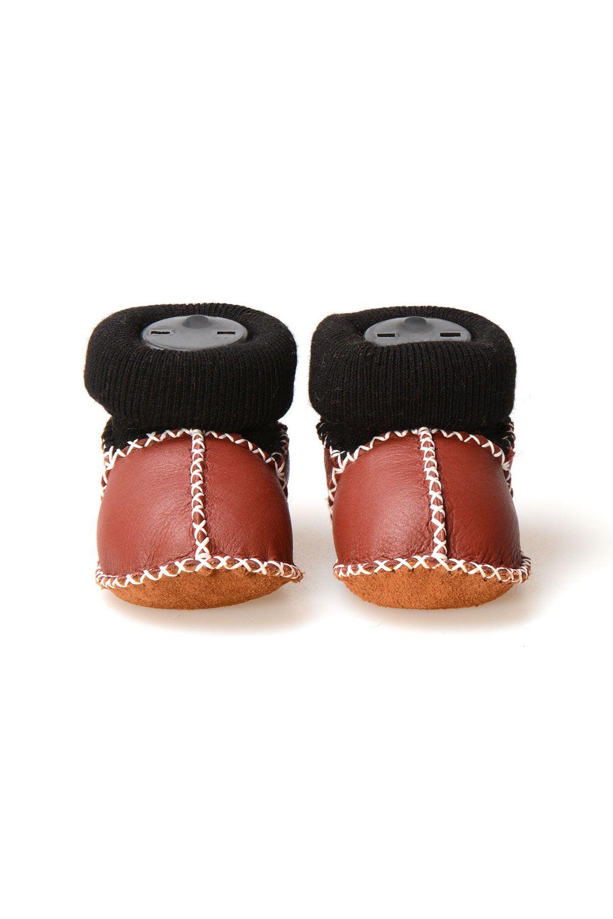Pegia Hakiki Kürklü Çoraplı Bebek Patiği 141107 Bordo