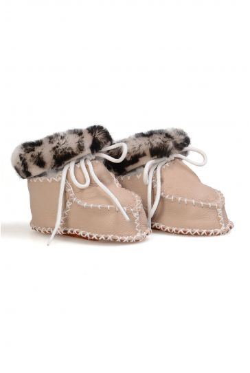 Pegia Genuine Shearling Lined Printed Baby Booties 141108 Beige