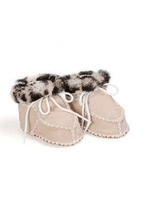 Pegia Genuine Shearling Lined Printed Baby Booties 141108 Gray