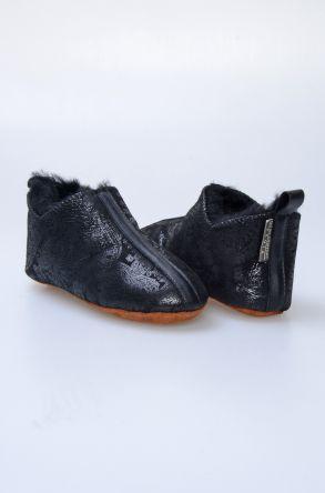 Pegia Hakiki Kürklü Desenli Çocuk Ev Ayakkabısı 880248 Siyah