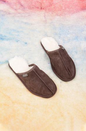 Pegia Genuine Sheepskin Men's House Slippers 111014 Brown