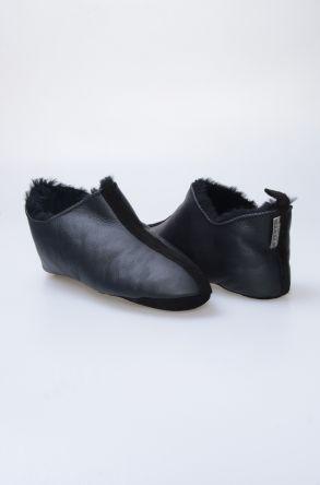 Pegia Hakiki Kürklü Erkek Ev Ayakkabısı 980526 Siyah