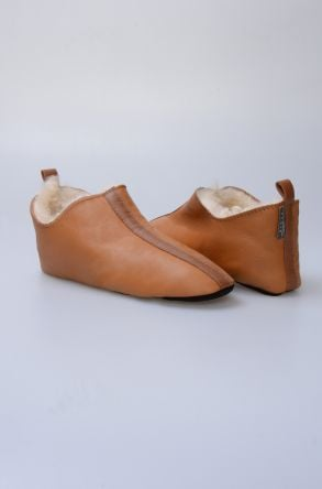 Pegia Hakiki Kürklü Erkek Ev Ayakkabısı 980535 Hardal