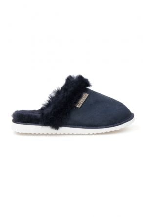 Pegia Genuine Sheepskin Women's Slippers 191105 Navy blue