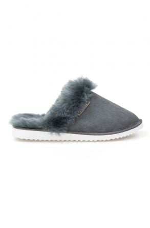 Pegia Genuine Sheepskin Women's Slippers 191105 Anthracite-colored