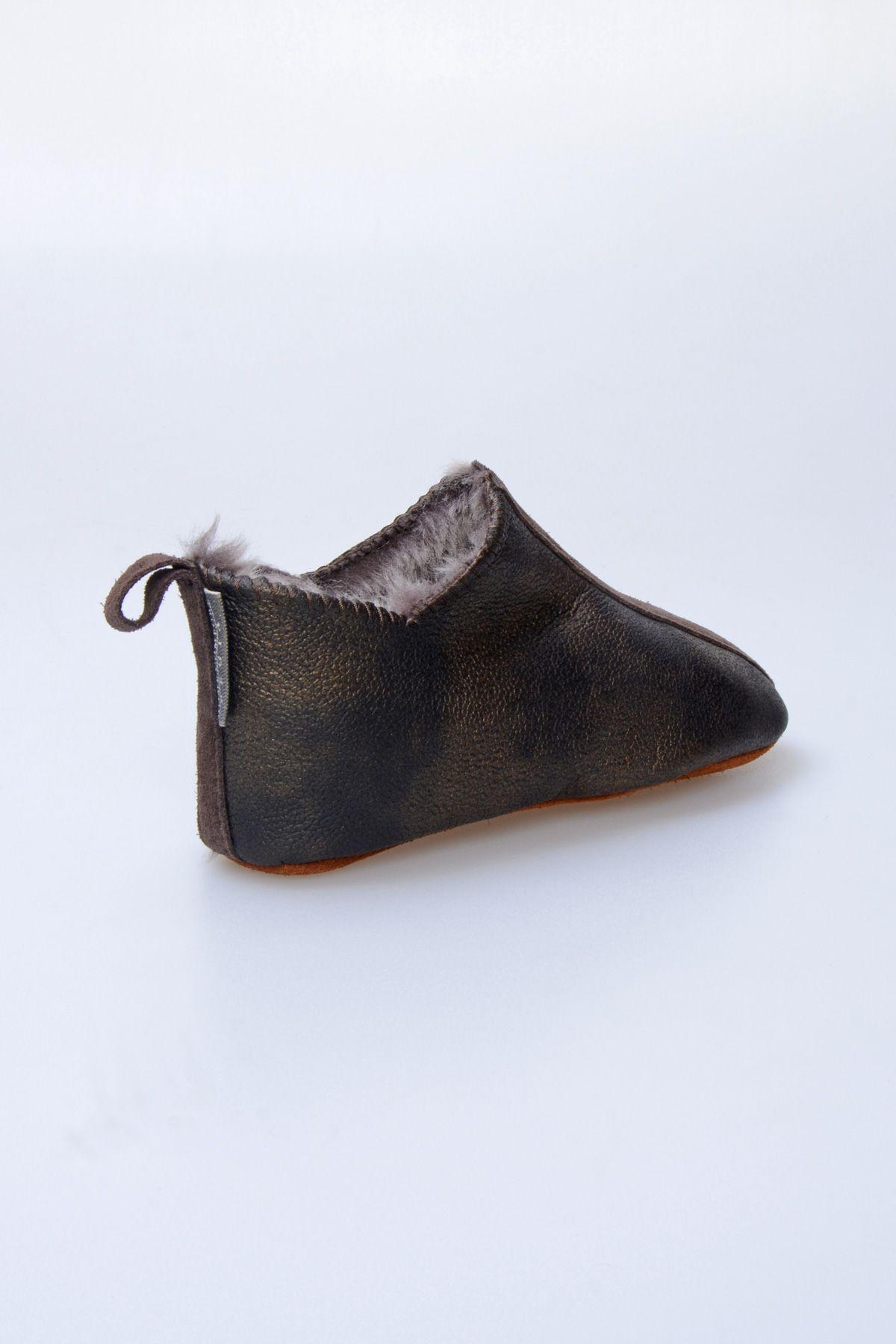 Pegia Hakiki Kürklü Çocuk Ev Ayakkabısı 880260 Khaki