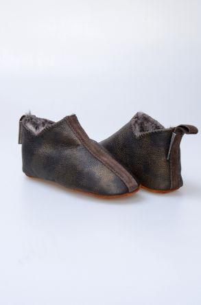 Pegia Hakiki Kürklü Çocuk Ev Ayakkabısı 880260 Haki